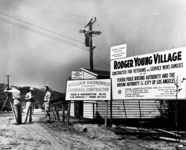 Construction begins on Rodger Young Village, 1946. LAPL