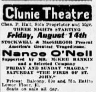 Sacramento Bee ad for Magda, 8/12/1908